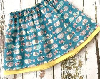 NEW! Organic baby skirt, girls skirt, orgnic skirt, cotton skirt, hedgehogs, baby gift, toddler skirt, toddler gift