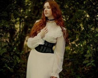 Calais lace waispie   balck lace sheer corset   black mesh corsets   lingerie corset   gothic waist band   corset belt   waist cincher