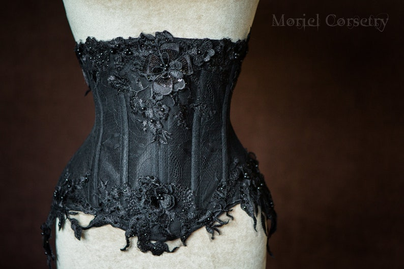5e1a8f5fdcd Haute goth sheer mesh beaded back corset with 3d lace