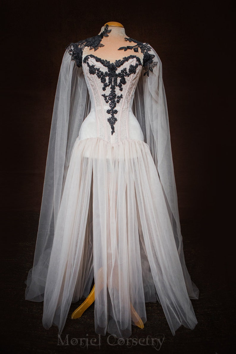 Vampire Bride Corset Dress With Cloak Boudoir Tulle Corseted Gown Vampire Queen Beaded Overbust Corset Fantasy Couture Prom Gown