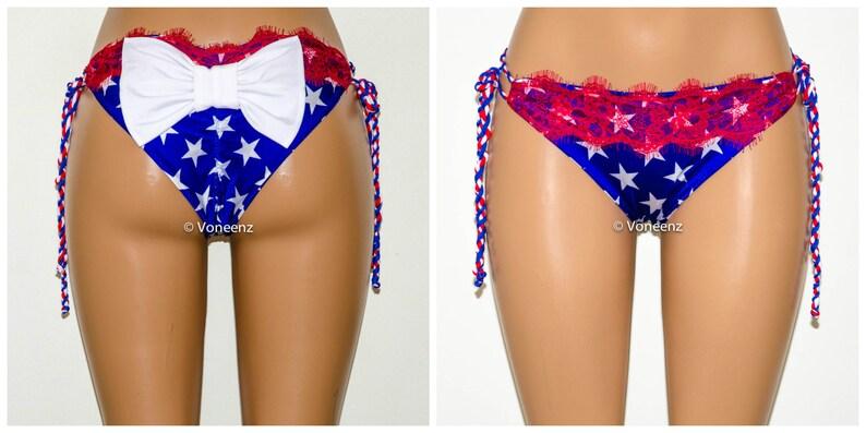 e4b827a1b2 American Flag Cheeky Bow Bikini Bottom Fire Red Eyelash Lace | Etsy