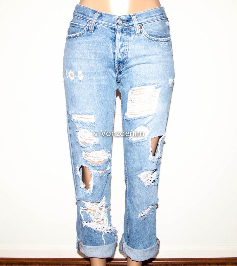bcb733d8cd Levis Distressed High Waisted Boyfriend Jeans Levi Vintage | Etsy