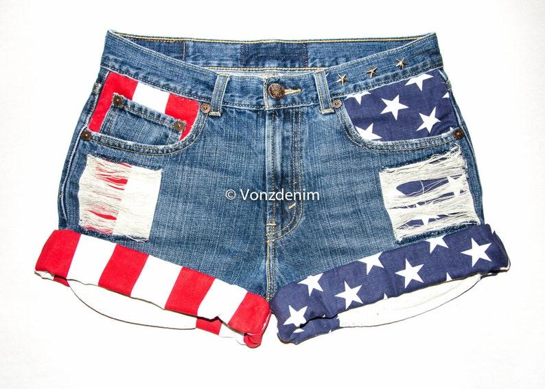 fe5916048b American Flag Shorts Levi High Waisted Denim Shorts 4th of | Etsy