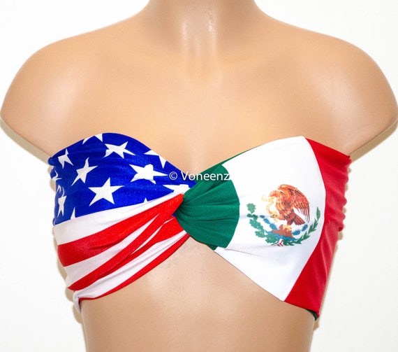 862a4672fac1c PADDED American Flag and Mexican Flag Bandeau United