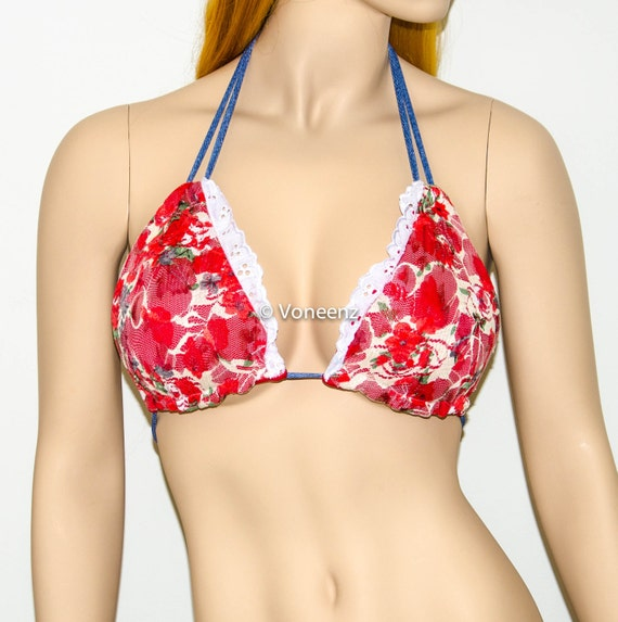 Red Cream Triangle Lined Coral Top Floral Trim Fully Swimsuit Bikini Lace Beach amp; Denim and Bikini Lace Bra Top q546a