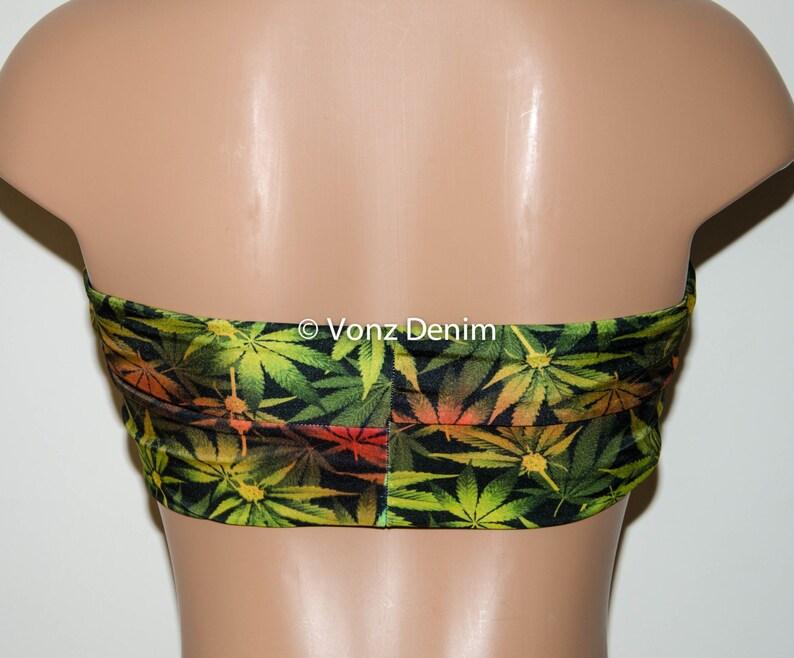e8f19c01ae Marijuana Weed Leaf Twisted Bandeau Swimwear Bikini Top | Etsy