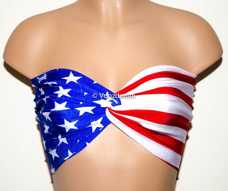 35d1dd0511bce PADDED American Flag Bandeau Beach Bra Swimsuit Top Bikini