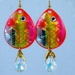 Hot Pink Baitfish Spinner Earrings