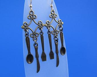 Antique Bronze Utensil Earrings
