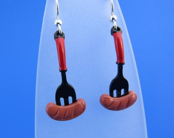 Fork and Sausage Earrings