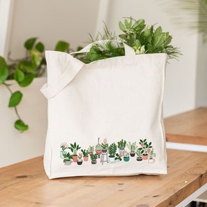 Botanical Tote Bag Canvas Screen Printed Plants Shopper Bag Gifts for Her