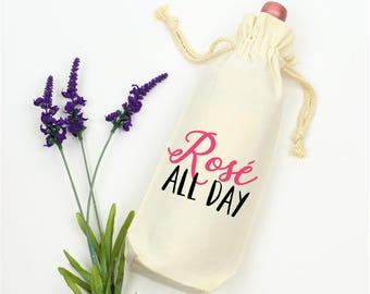 Rose All Day, Wine Tote Bag, Wine Tote, Wine Bag, Wine Lover Gift, Wine Drinker Gift, Gift for Her, Gift for Girl, Wine Gift, Wine Carrier