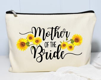 Mother of the Bride Makeup Bag, Mother Of The Bride, Monogram Cosmetic Bag, Make Up Bag, Floral Bag, Sunflower wedding, Personalized