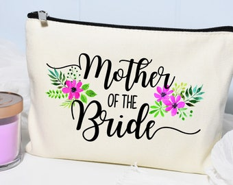 Mother of the Bride Makeup Bag, Mother Of The Bride, Monogram Cosmetic Bag, Make Up Bag, Floral Bag, Mother-of-the-Bride gift, Personalized