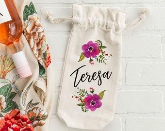 Wine Bag Handmade Gift Vintage Floral Wine Tote Floral Wine Carrier Wine Tote Wine Sleeve