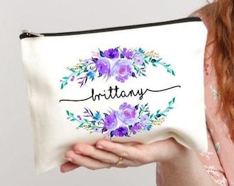 Bridal Party Gift, Makeup Case, Personalized Bag, Purple Makeup Bag, Bride Makeup Bag, Cosmetic Bag, Best Friend Gift, Floral Monogram Bag