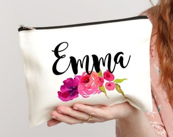Makeup Bag, Personalized Bag, Floral Monogram Bag, Bridesmaid Gifts, Makeup Case, Monogram Bag, Cosmetic Bag, Makeup Organizer, Gift for Her