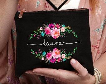 Best Friend Gift, Makeup Case, Personalized Makeup Bag, Personalized Gift, Makeup, Makeup Bag, Cosmetic Bag, Black Bag, Floral Monogram Bag
