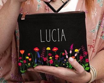 Wildflower Makeup Bag, Personalized Makeup Bag, Best Friend Gift, Personalized Gift, Makeup Case, Floral Monogram Bag, Makeup Bag, Cosmetics
