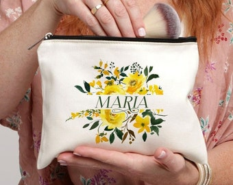 Best Friend Gift, Makeup Case, Personalized Makeup Bag, Yellow Floral Bag, Personalized Gift, Makeup Bag, Cosmetic Bag, Floral Monogram Bag