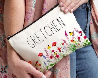 Best Friend Gift, Wildflower Makeup Bag, Personalized Gift, Personalized Makeup Bag, Makeup Case, Floral Monogram Bag, Makeup Bag, Cosmetics