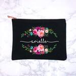 Best Friend Gift, Makeup Case, Personalized Makeup Bag, Personalized Gift, Makeup, Makeup Bag, Cosmetic Bag, Canvas Bag, Floral Monogram Bag