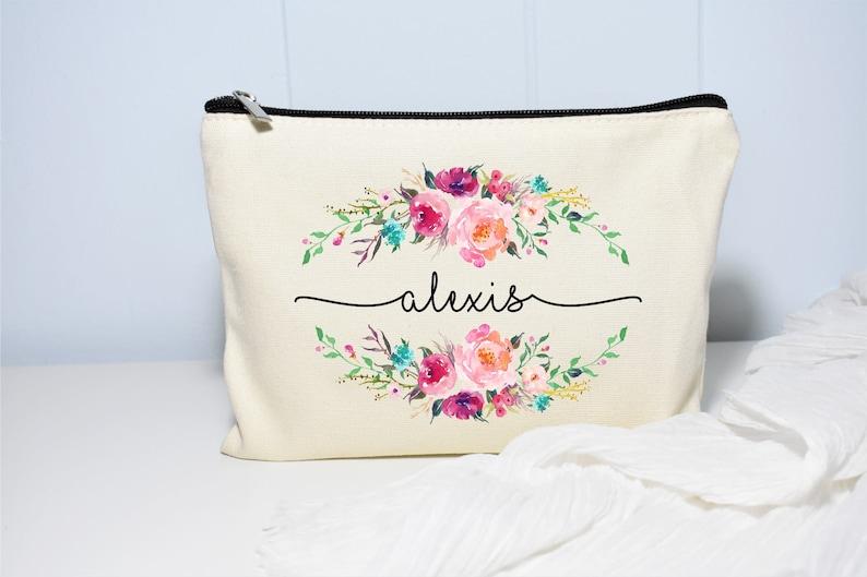 Best Friend Gift Makeup Case Personalized Makeup Bag Natural Beige