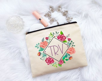Monogram Makeup Bag, Monogram Cosmetic Bag, Floral Bridesmaid Makeup Bag, Floral Initial Bridesmaid Makeup Bag, Floral Makeup Bag, Monogram