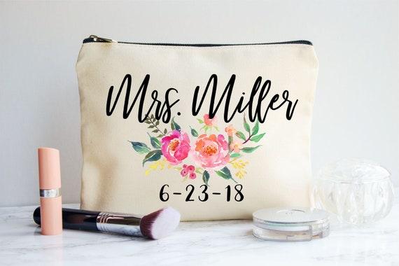 Bride Makeup Bag Bridal Gift Personalized Wedding Gift Etsy