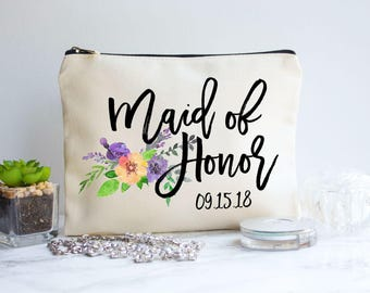 Maid of Honor Gift, Bridal Party Gift, Bridesmaid, Maid of Honor, Maid of Honor Makeup Bag, Makeup Bag, Personalized Gift, Cosmetic Bag, Bag