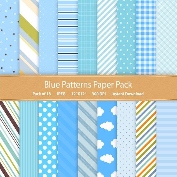 Blue Patterns Digital Paper Pack Digital Scrapbooking Paper Etsy