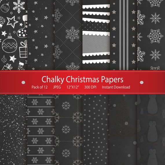 Christmas Digital Paper Chalky Christmas Papers Printable Design Chalk Paper Scrapbooking Collection Christmas Stockings Snowflakes Stars By Gonedigital Design Catch My Party