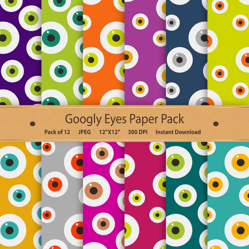 photograph about Printable Halloween Paper named Googly Eyes Electronic Paper Halloween Paper Pack Printable Halloween Habit Sbook Paper Monster Eyeball Clipart Pink Orange Eco-friendly Eyed