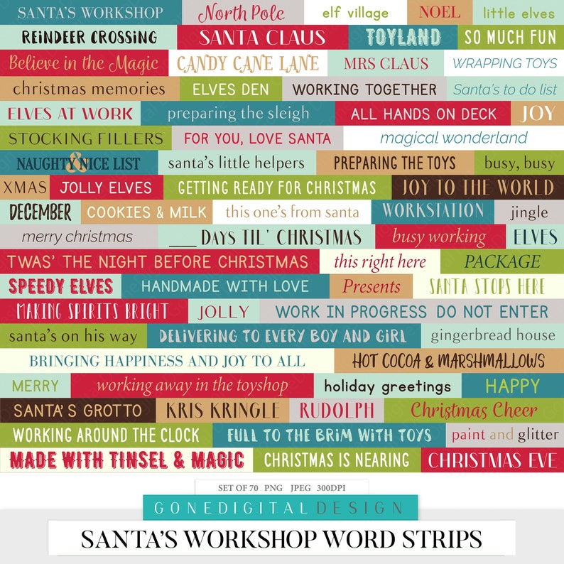 Santa's Workshop Word Strips Santa Words Art Christmas Words PNG Word Label  Christmas Sticker Labels Word Stickers Printable Word Art Bits
