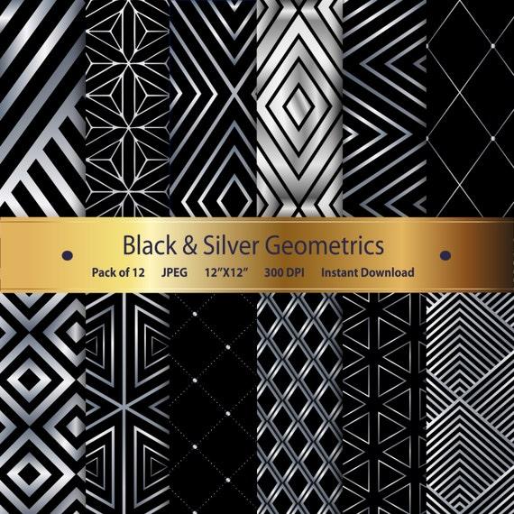 black silver geometric digital paper pack digital scrapbook paper