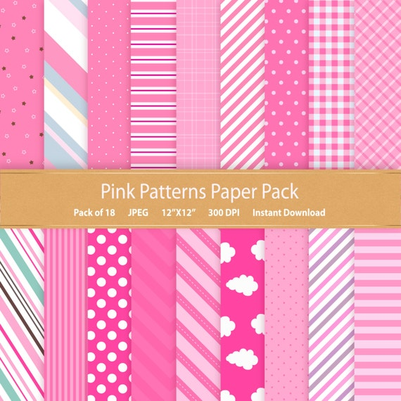Pink Patterns Digital Paper Pink Stripes Pink Polka dot Pink