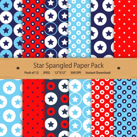 Star Paper Digital Scrapbooking Paper July 4th Printable Etsy