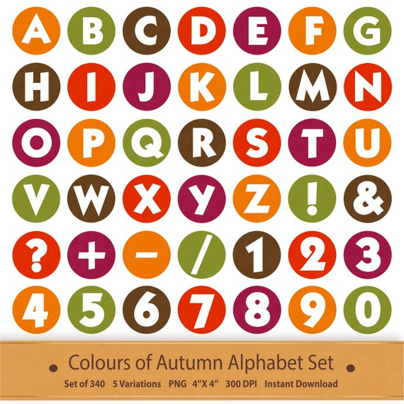 Autumn Digital Alphabet Letters Printable Autumn Clipart Autumn