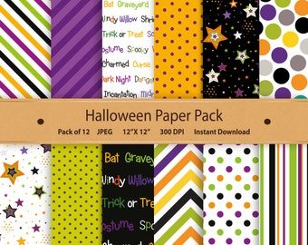 Halloween Digital Paper Halloween Paper Pack Halloween Scrapbooking & Papercraft Halloween Printable Chevron Stars Orange Green Purple 12x12