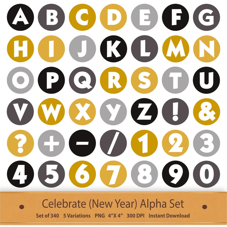 Digital Alphabet Letters Printable New Year Clipart Printable Sticker  Scrapbook Alphabet Clipart Planner Sticker Scrapbook Clipart Celebrate