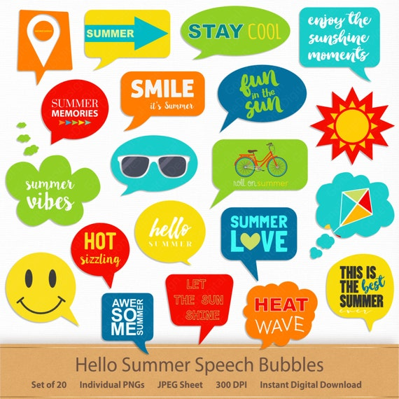 Hello Summer Speech Bubbles Printable Planner Stickers Digital Scrapbooking Clipart Callouts Phrases Labels Clip Art Memory Keeping Word By Gonedigital Design Catch My Party