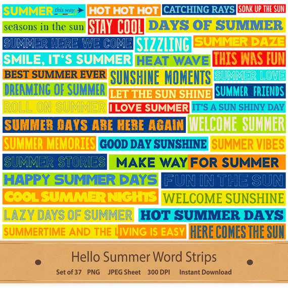 summer word clipart printable word stickers digital word art collage