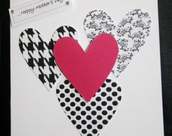 Handmade Mother's Day card wih black and white and pink hearts