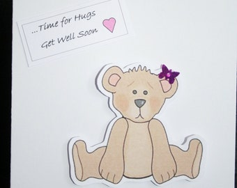 Handmade 'Get Well' card wih a brown bear and a butterfly