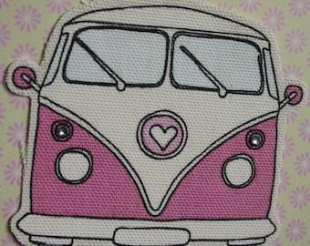 Handmade pink campervan birthday card