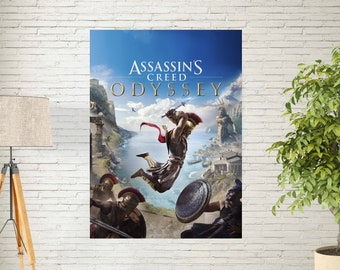 """Assassin's Creed Odyssey Poster - Video Game Print - Gameing Home Wall Decor Art Print - Game Art Poster - Size 13x20"""" 24x36"""" 27x40"""" 32x48"""""""