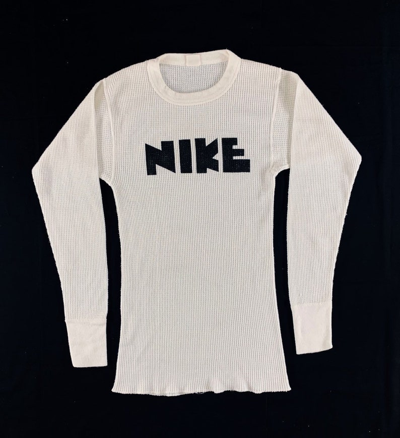 RARE!! vintage NIKE block fonts Long Sleeves thermal shirt 70s Made in Usa  big logo hype streetwear White unisex athletic XS