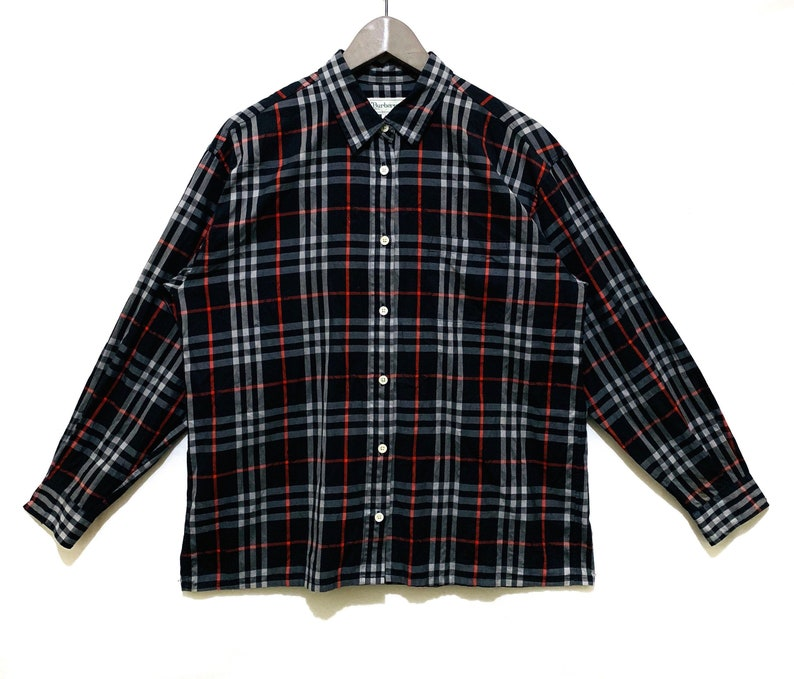 b110b140c084 Vintage BURBERRY london brit Long Sleeve nova check Black Red
