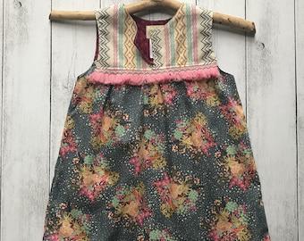 Gypsy Rose Sleeveless Dress - Grey floral with cream striped bodice, pink boho Trim, SIZES 1,2,3,4,5,6