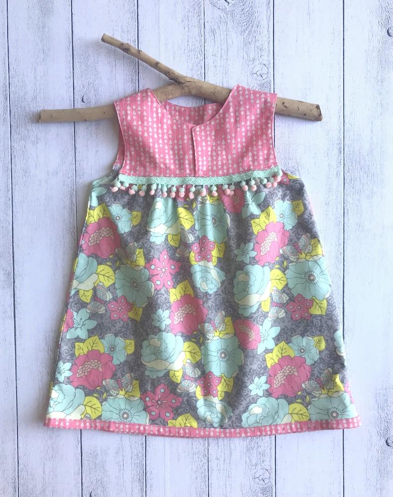 35d57bc3a567f Gypsy Rose Sleeveless Dress Grey / Pink / Yellow / Teal | Etsy